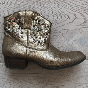 Frye booties girls 3 gold embellishments